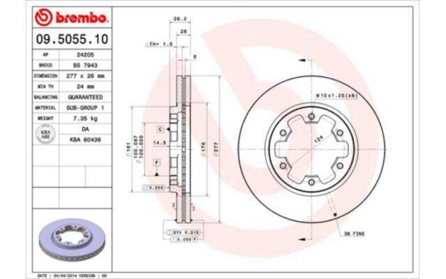 BREMBO Juego de 2 discos freno Antes 277mm ventilado FORD NISSAN 09.5055.10