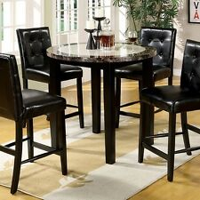 Chausse Leatherette 5-pc Counter Height Round Dining Set w/Faux Marble Top Black
