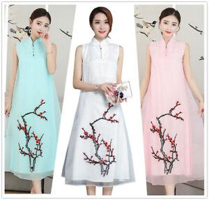 Summer-Embroidery-Sleeveless-A-Line-Women-039-s-Loose-Long-Dress-Cheongsam-M-3XL