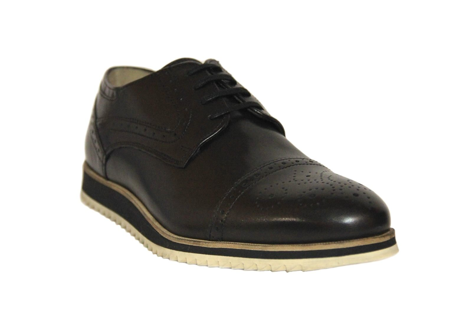 Bacco Bucci Pearce Men's Black Leather Cam Toe Casual Oxford shoes