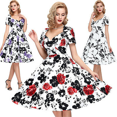 Vintage Housewife 40s 50s 60s Rockability floral Swing Evening Dress Cocktail