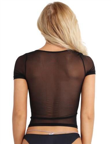 Womens Mesh Sheer See-through Crop Top Blouse Stretchy Slim Fit Shorts Shirts