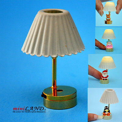 DIY TABLE LED LAMP LIGHT BATTERY 1:12 DOLLHOUSE MINIATURE BRASS glue yours item