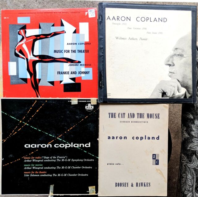 AARON COPLAND lot: 3 1950s LPs & sheet music + JEROME MOROSS Frankie & Johnny