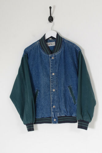 Vintage Men's Denim Varsity Jacket Dark Blue (s)