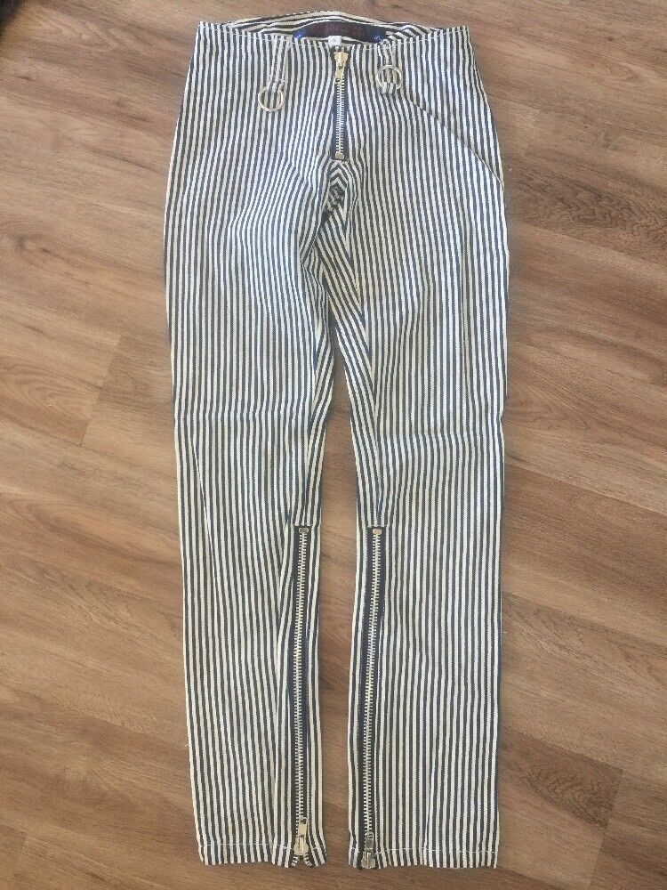 Nos SUBMISSION Camouflage Zippers Punk Striped Pants Trouser Psychobilly S