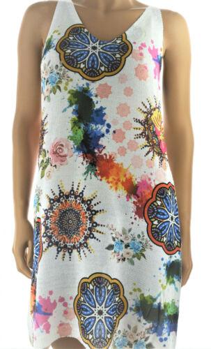 ITALY  Mini Kleid Hippie Strick Strandkleid Mandala 38 40 42 Trägerkleid NEU