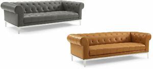 Chesterfield-Sofa-Genuine-Top-Grain-Soft-Gray-or-Tan-Leather-Diamond-Tufted