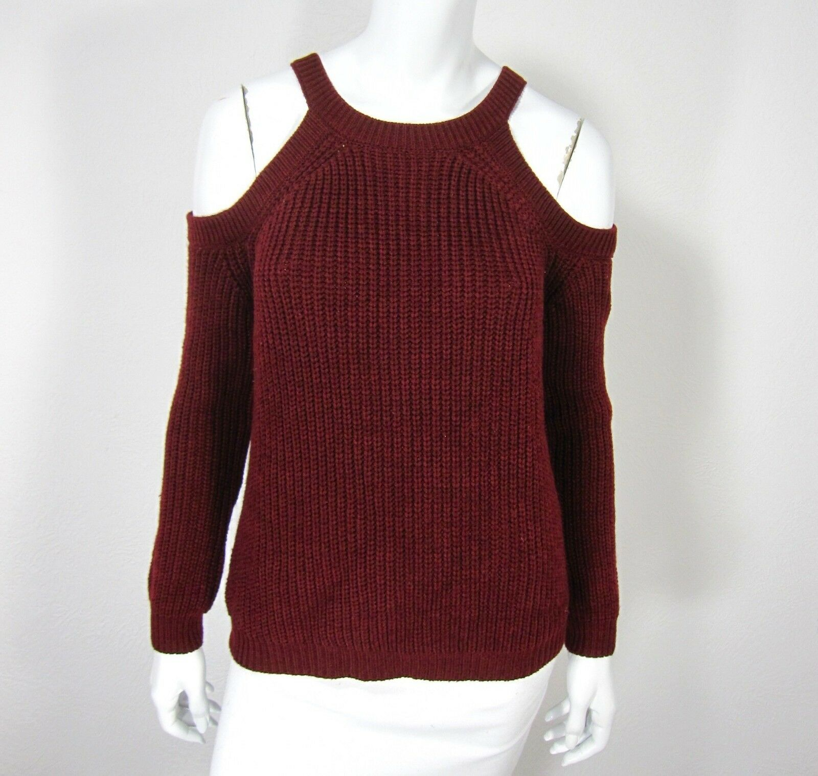 ACTIVE USA LONG SLEEVE SWEATER SIZE M MEDIUM COLD SHOULDER SOLID RED BURGUNDY