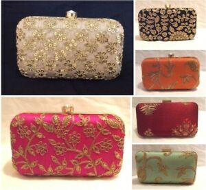 Details About Embroidered Smart Elegant Clutch Bags Las Women Wedding Party Purse