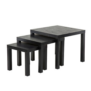 ca7f3e0a85d12 Black Nest of 3 Coffee Tables Side End Lamp Bedside Table Living ...