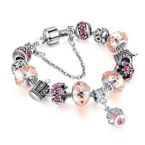 European Silver Plated Crown Bracelet Charm Crystal Glass Beads Women Jewelry