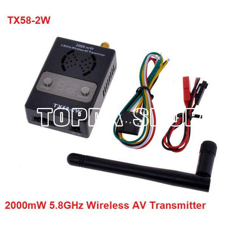 Transmisor De Audio Video Inalámbrico 5.8Ghz 2000mW TX58-2W 32Ch para el soporte de vista en primera persona Fatshark Auto