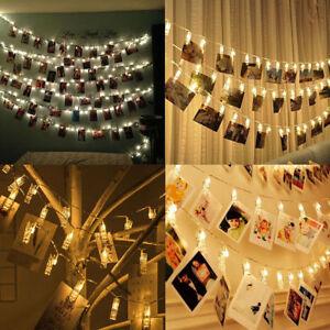 20 led lichterkette foto clips klammern stimmungslicht warmwei dekoration licht ebay. Black Bedroom Furniture Sets. Home Design Ideas