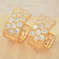 Vintage  yellow Gold filled 3-Row CZ Womens Cute round Hoop Earrings earings lot