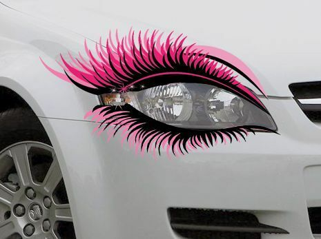 STICKER Pair Novelty Car Eyelash Eyelashes Extensions Headlight Pink Mascara