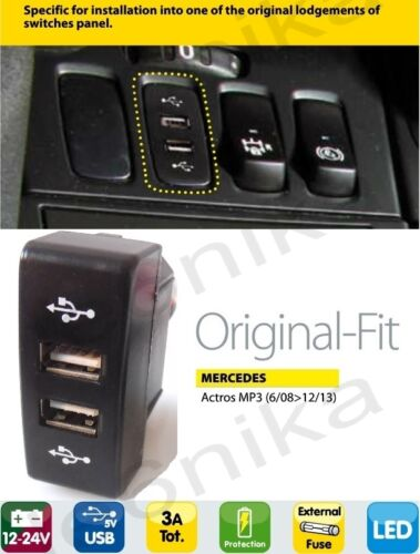 MERCEDES ACTROS MP3 IN DASH DASHBOARD PANEL DUAL USB PORT CHARGER POWER OUTLET