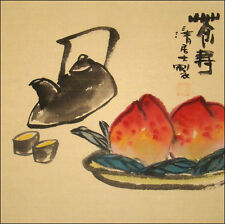 Oriental Chinese Art / Chinese Brush Painting Art - Tea Time / Tea & Longevity