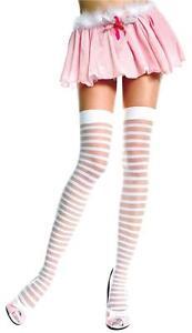 Pure-White-Sheer-Opaque-Stripe-Plain-Top-Nylon-Stockings-Sexy-Lingerie-P4236