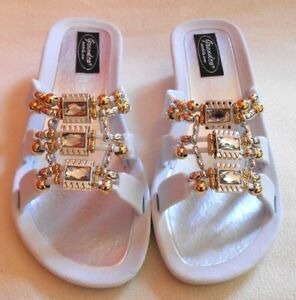 a8e635429a4 GRANDCO SANDALS White Beach Pool SLIDE Wedge Beaded Jeweled DRESSY ...