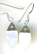 """925 Sterling Silver White MoP & Marcasite Drop / Dangle Hook Earrings  L 1.3/8"""""""