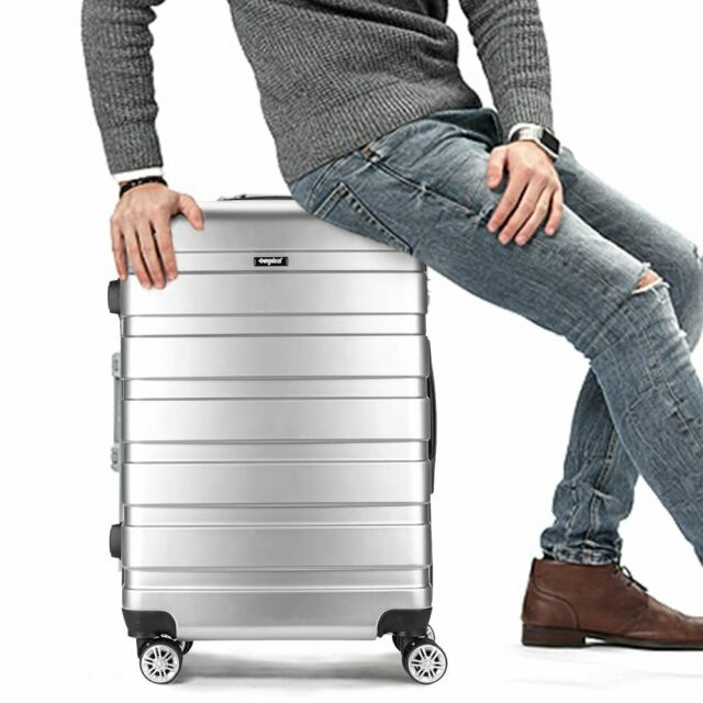"24"" Silver  Hard Shell 4 Wheel Suitcase PC Luggage Trolley Large Case Hand Bag"