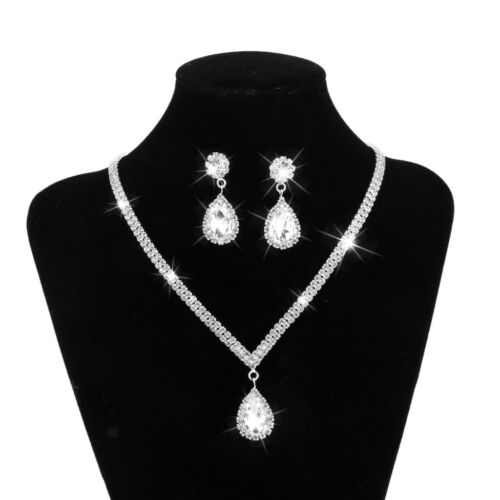 Women Party Crystal Pendant Necklace Earrings Wedding Bridal Jewelry Set
