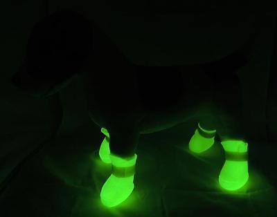 Glow-in-the Dark Anti-Slip Waterproof PVC Dog Rain Shoes * Boots * 5 Sizes GLOW