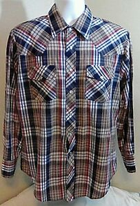 Outlaw-Western-Wear-Mens-Pearl-Snap-Cowboy-Shirt-Large-Brown-Red-Blue-Plaid-FS