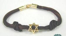 14K Yellow Gold Star of David Leather Designer Bracelet