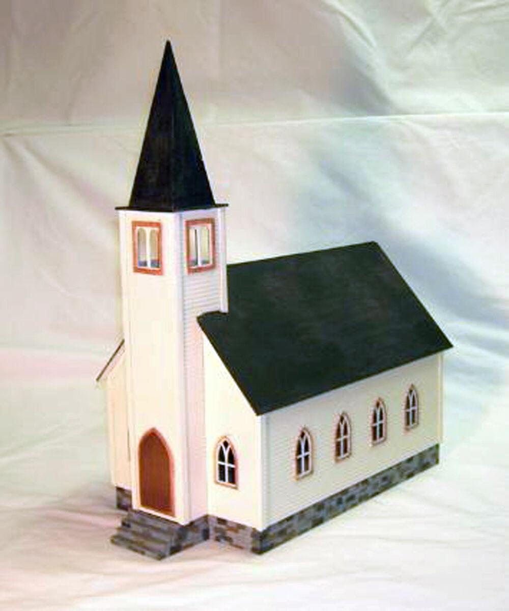 Iglesia o On3 On30 modelo del ferrocarril estructura sin pintar KIT de madera de corte láser DF416