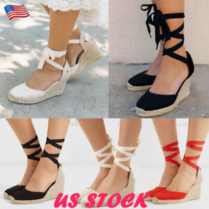 Women-Lace-Up-Wedge-Sandals-Espadrille-Platform-Med-Heel-Summer-Casual-Shoes-USA