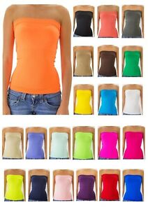 Strapless-Tube-Top-long-Bandeau-Seamless-Stretch-Ribbed-Basic-Layering