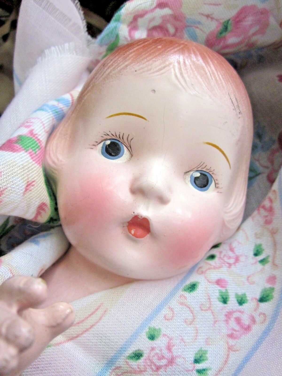 Vintage Doll composition closed mouth 15  tall blu Eyes