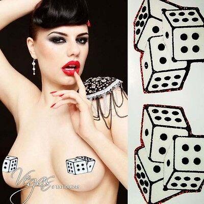 Black/White Nipple Pasties Craps Liar's Dice Body Sticker Glitter Cover Makeup