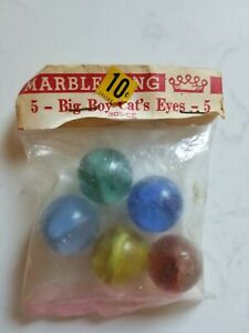 Vintage-Marble-King-5-Big-Boy-Cat-039-s-Eyes-305-CE-Shooters-NEW-Dime-Store-Package