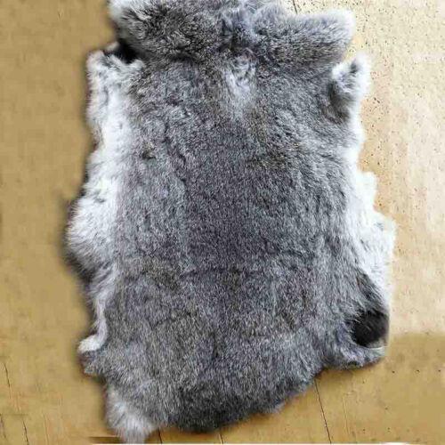 Genuine Natural Rabbit Fur Skin Tanned Leather Hide Craft Pelts Black//Gray//Brown