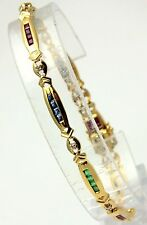 Estate Tennis Bracelet 14k Gold Solid NATURAL Ruby Sapphire Emerald Diamond 7.5""