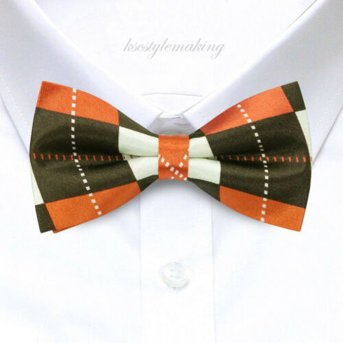 *brand New* Orange&brown Argyle Checked Tuxedo Fashion Boys Bow Tie B275