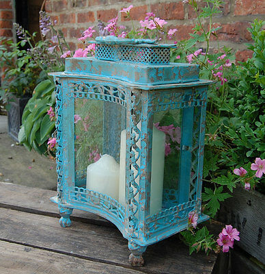 Vintage Style Blue Metal Storm Lantern Antique Finish Candle Holder