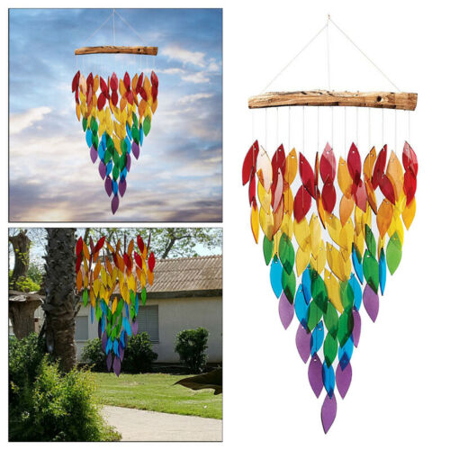 Colorful Leaves Shape Wind Chime Hanging Ornament Garden Courtyard Home Decor