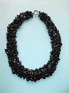 18 Bib Necklace, Chunky Black Jet Beads, 1.25 Wide, Large Silvertone C-Clasp