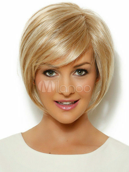 Fashion Blonde Gold Synthetic Straight Wigs Attractive Women's Short Hair Wig
