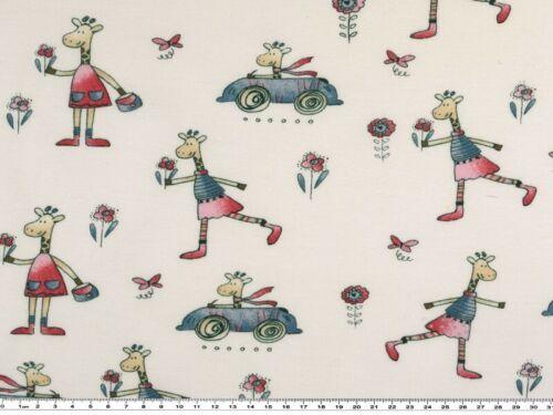 Baumwolljersey für Kinder Giraffe mit Auto 150-155cm weiß