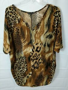 TRY-THIS-Women-039-s-Plus-Animal-Print-S-S-Ruched-Sides-V-neck-Stretch-Top-size-3X