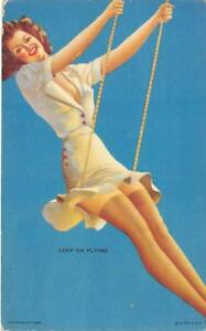 034-Keep-039-Em-Flying-034-Pin-Up-Girl-On-Swing-Mutoscope-Card-c1940s-Vintage-Arcade-Card