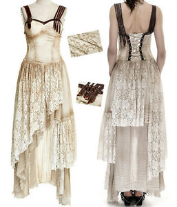 Robe-longue-gothique-lolita-steampunk-dentelle-sangles-lace-vieilli-vintage