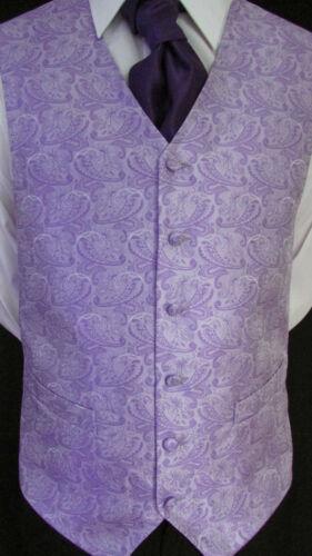 NW01 Mens BRAND NEW Purple Pattern Wedding Suit Waistcoat
