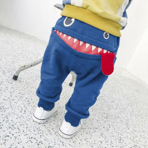 Kids Girls Toddler Boys Trousers Cartoon Shark Tongue Cotton Harem Long Pants P