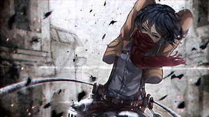 Image Is Loading Anime On Titan Mikasa Ackerman Silk Poster